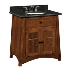 Mccoy Bathroom Vanity, Quarter Sawn White Oak, Asbury, Wood Door