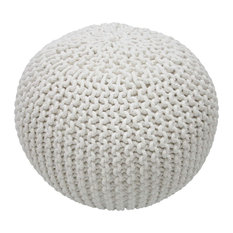 nuLOOM Knitted Cotton Ling Contemporary Pouf, White