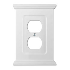 Mantel White Wood 1-Duplex Wall Plate