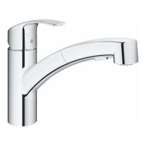 Modern Single Lever Sink Mixer Tap With Pull Out Spray Head and 90 Swivel Spout