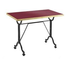 Rectangular Enamel Bistro Table, Red, Brass Rim