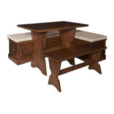 3-Piece Traditional Dining Table, Bench and L-Shaped Bench Set in Walnut Finish