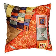 "Klimt Decorative Pillow Cover Bright Red Swirls Hand Embroidered Art Silk 18x18"""