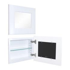 14x11 Landscape Mirrored Medicine Cabinet, Shaker White
