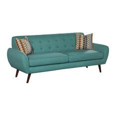 US Furnishings Express   Irene Linen Sofa, Teal   Sofas