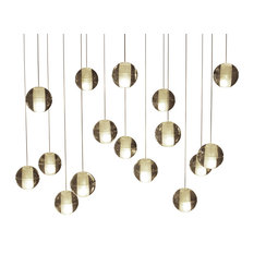 Lightupmyhome Orion 16 Light Rectangular LED Glass Chandelier, Antique Brass