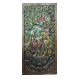 "Mogul Interior - Consigned Dancing Krishna Radha Teak Wood Wall Panel 72 X 36"" - Wall Accents"