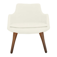 Dervish Wood Lounge Chair, Solid Beech Walnut Color Base, White Leatherette