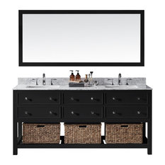 "72"" Double Sink Bathroom Vanity With Carrara Marble Top, Baskets, and Mirror"