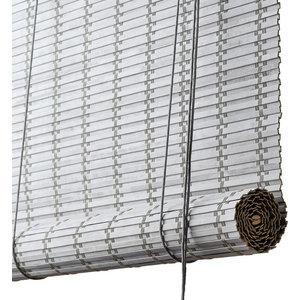 Flat Bamboo Roller Blind, Light Grey, 160x80 cm