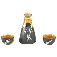 3 Pc Ceramic Sake Set Japanese Porcelain Sake Cups D