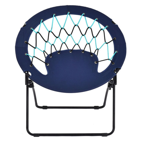 Outdoor Camping Folding Round Bungee Chair, Blue