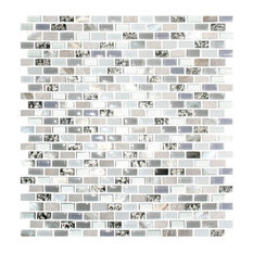 "12""x12"" White Mother of Pearl and Metallic Silver Glass Tile, Full Sheet"