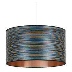Blue Stripe and Copper Wood Veneer Pendant Light, 30 cm