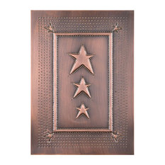 USA Handcrafted   Four Handcrafted Punched Tin Cabinet Panels Three Star  Embossed Pattern, Copper