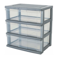 Modern Large Chest Storage Unit, Silver Finished Hard Plastic With 3-Drawer