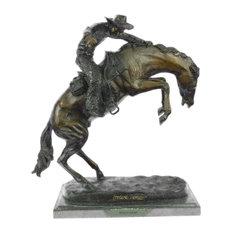 Signed Remington Famous Wooly Chaps Bronze Sculpture Cowboy Horse