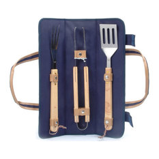 Skewer Wrap Barbecue Tool Set, Navy Blue