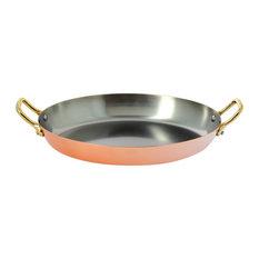 """De Buyer Inocuivre 12-1/2""""x9"""" Oval Dish with 2 Brass Handles"""
