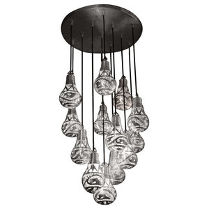 Handmade Pendant With 13 Lantern Bulbs, Matte Silver, Large Bulbs