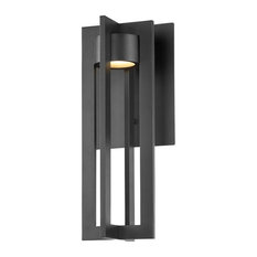 """Chamber LED Outdoor Wall Sconce 3000K, Black, 16"""""""