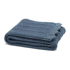 Eco Pointelle Throw, Slate and Blue Pond