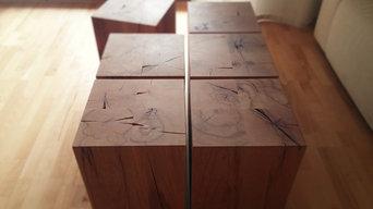 Massiver Holzblock Buche Couchtisch