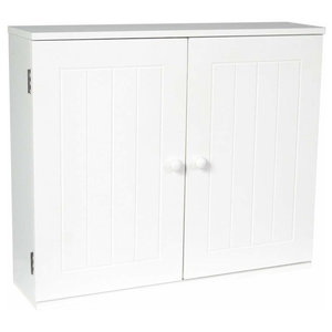Wall Mounted Storage Cabinet With White Finished MDF, Double Doors, Inner Shelf