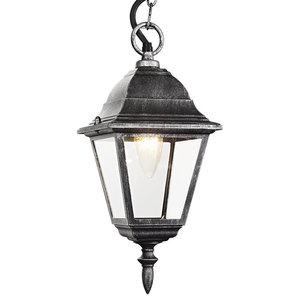 Black/Silver Cast Aluminium IP44 Outdoor Hanging Lantern