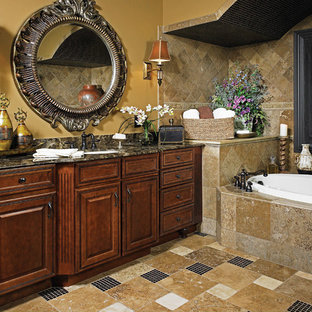 Traditional bathroom in Chicago with raised-panel cabinets, dark wood cabinets, a drop-in tub, an undermount sink, multi-coloured floor and multi-coloured benchtops.