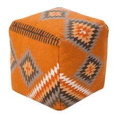 Surya Poufs Cube Pouf, Burnt Orange, Olive, Tan, Khaki, Camel