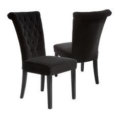 GDF Studio Paulina Dining Chairs, Black Velvet, Set Of 2