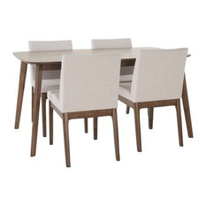 5-Piece Katherine Mid Century Fabric and Wood Finish Dining Set