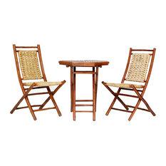 Kauai 3-Piece Indoor/Outdoor Bistro Set, Brown Bamboo, Natural Water Hyacinth
