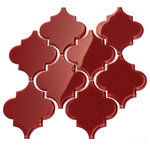 """Giorbello - 12""""x13"""" Arabesque Collection, Set of 11, Ruby Red - Water Resistant Glass - Ideal for Kitchens and Baths"""