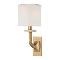 Rockwell 1 Light Wall Sconce, Aged Brass Finish, White 100% Silk