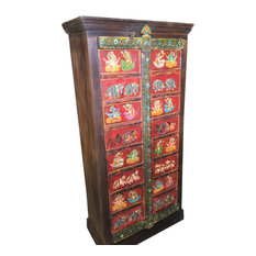 Mogulinterior - Consigned Antique Wardrobe Hand painted Ganesha Bohemian Cabinet Armoire - Armoires and Wardrobes