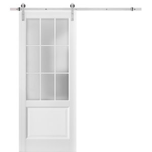 Lite Slab Barn Door Panel 28 x 80 Pocket Closet Sliding Lucia 22 Matte White with Frosted Opaque Glass Sturdy Finished Wooden Modern Doors