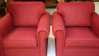Red Wool Armchairs