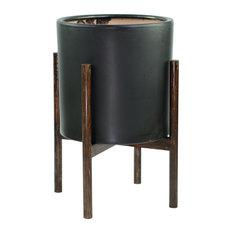 "Ceramic Pot Mid Century Planter 13"" Black +Round Plant Stand Set Dark Walnut"