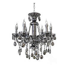 6light smoked mirrored silver crystal chandelier light chandeliers