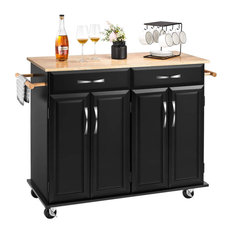 Rolling Kitchen Island Black MDF Body With Adjustable Inner Shelves And Drawers