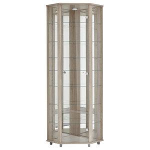 Corner Display Cabinet With LED, 1 Door, 7 Shelves, Oak