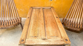 Repurposed door converted to table