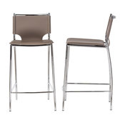 Montclare and Taupe Bonded Leather Upholstered Counter Stools, Set of 2