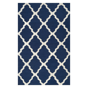 """Hand Hooked Geometric Contemporary Moroccan Trellis Rug, Navy Blue, 7'6""""x9'6"""""""