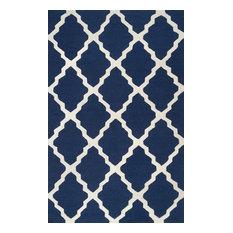 NuLOOM   Hand Hooked Geometric Contemporary Moroccan Trellis Rug, Navy Blue,  8u00276