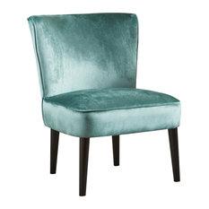 GDF Studio Petra Mid Century New Velvet Club Chair, Turquoise