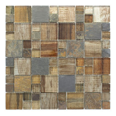 "11.75""x11.75"" Davies Mixed Mosaic Tile Sheet, Brown"