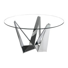 Alexandra Furniture - Triangle Steel Dining Table, Glass and Silver, Large - Dining Tables